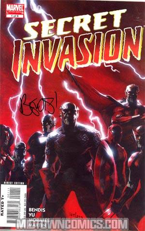 Secret Invasion #1 Cover F DF Signed By Brian Michael Bendis
