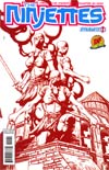 Garth Ennis Ninjettes #1 DF Exclusive Johnny Desjardins Blood Red Cover