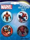 Marvel Comics 4-Button Set #6 Iron Man Spider-Man Wolverine And Daredevil