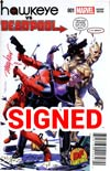 Hawkeye vs Deadpool #1 Cover H DF Exclusive Blood Red Signed By Mike Mayhew