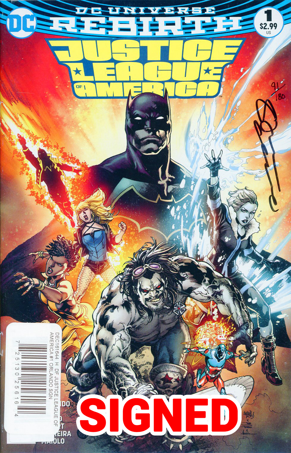 Justice League Of America Vol 5 #1 Cover D DF Signed By Steve Orlando