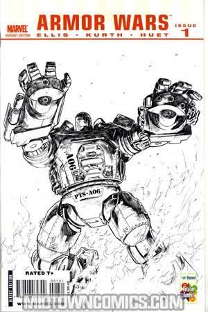 Ultimate Comics Armor Wars #1 Incentive Retailer Summit Steve Kurth Villain Sketch Cover