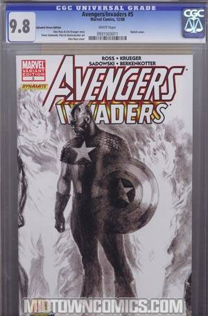 Avengers Invaders #5 DF Exclusive Alex Ross Sketch Variant Cover CGC 9.8