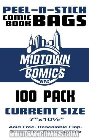 Current Size Comic Book Bags Peel-N-Stick 100-Pack
