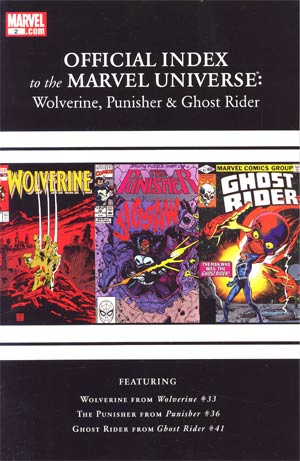 Wolverine Punisher & Ghost Rider Official Index To The Marvel Universe #2