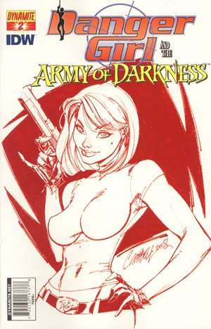 Danger Girl And The Army Of Darkness #2 Cover D Incentive J Scott Campbell Blood Red Cover