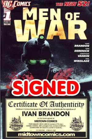 Men Of War Vol 2 #1 1st Ptg Signed By Ivan Brandon