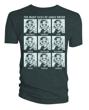 Judge Dredd Many Faces Of Dredd Dark Heather T-Shirt Large