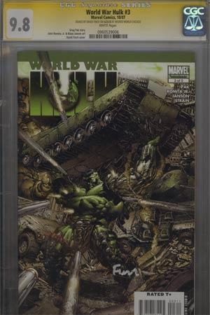 World War Hulk #3 Cover D Regular David Finch Cover Signed By David Finch CGC 9.8
