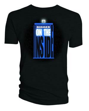 Doctor Who TARDIS Bigger On The Inside Black T-Shirt Large