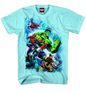 Marvel Heroes Second War Carolina Blue T-Shirt Large