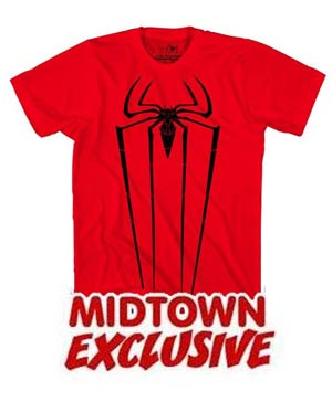 Amazing Spider-Man Movie Red & Black Midtown Exclusive Mens T-Shirt Large