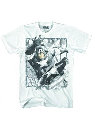 Captain America Throwing Star White T-Shirt Large