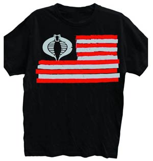 GI Joe Cobra Flag Previews Exclusive Black T-Shirt Large
