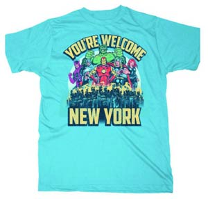 Avengers Youre Welcome New York Light Blue T-Shirt Large