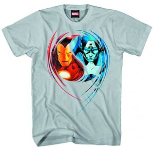 Captain America Iron Man Dual Nature Previews Exclusive Grey T-Shirt Large