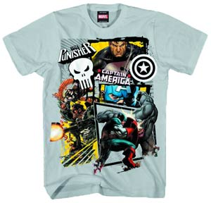 Captain America & Punisher American Pun Silver T-Shirt Large