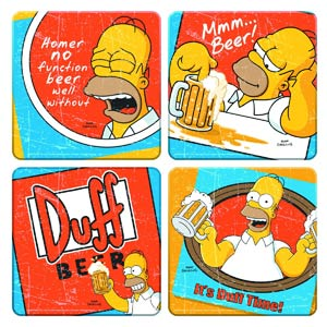 Simpsons Duff Beer 4-Piece Coaster Set