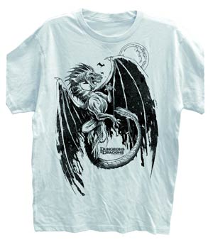 Dungeons & Dragons Flying Dragon White T-Shirt Large