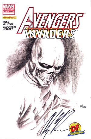 Avengers Invaders #11 DF Exclusive Alex Ross Sketch Variant Cover Signed By Alex Ross