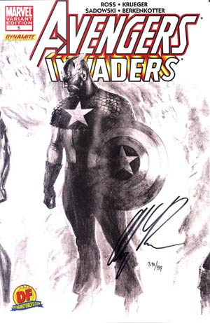 Avengers Invaders #5 DF Exclusive Alex Ross Sketch Variant Cover Signed By Alex Ross