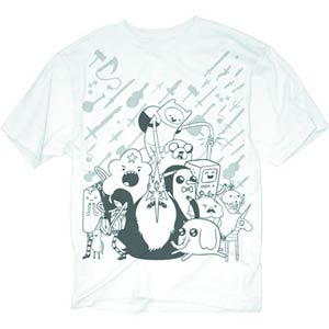 Adventure Time Monotone Characters Previews Exclusive White T-Shirt Large