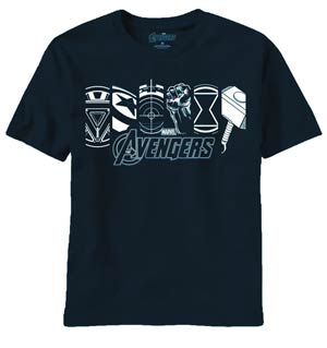 Avengers Movie Lit Up Icons Navy T-Shirt Large