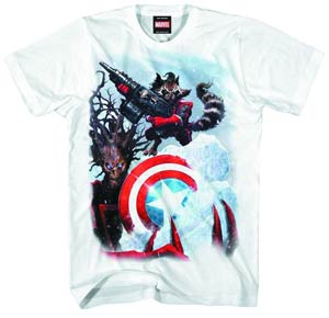 Rocket Raccoon Guarding Ice Previews Exclusive White T-Shirt Large
