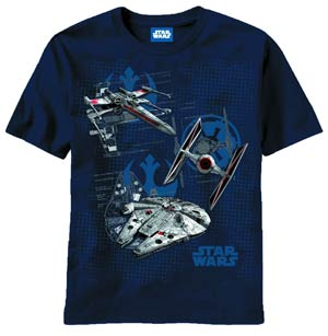 Star Wars Ships Diagrams Navy T-Shirt Large