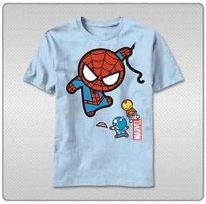 Marvel Kawaii Character Fly By T-Shirt Large