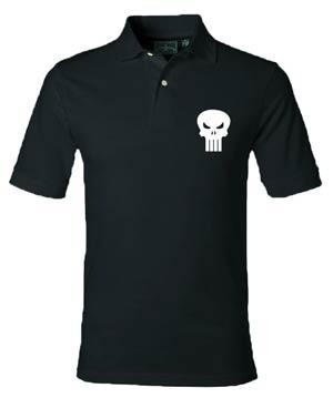 Punisher Skull Black Polo Medium