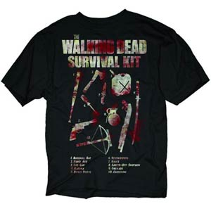 Walking Dead How To Survive Black T-Shirt Large