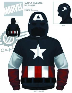 Captain America Cap A Fleece Zip-Up Hoodie Medium
