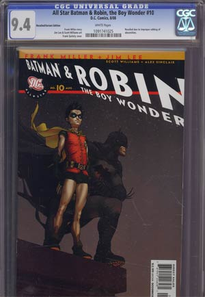 All Star Batman And Robin The Boy Wonder #10 Cover B Incentive Frank Quitely Variant Cover Recall Version CGC 9.4