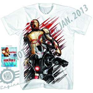 Iron Man 3 50Caliber-M Previews Exclusive White T-Shirt Large