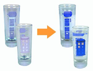 Doctor Who Color-Changing TARDIS 2-Ounce Glass 4-Pack