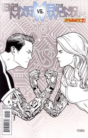 Bionic Man vs Bionic Woman #1 Incentive Sean Chen Black & White Cover