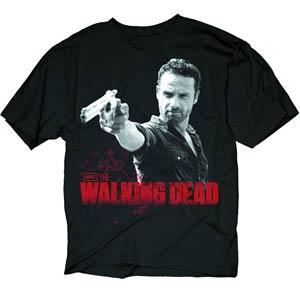 Walking Dead Rick & Pistol Previews Exclusive Black T-Shirt Large