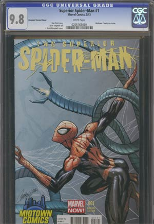 Superior Spider-Man #1 Midtown Exclusive J Scott Campbell Connecting Variant Cover (Part 2 of 2) CGC 9.8