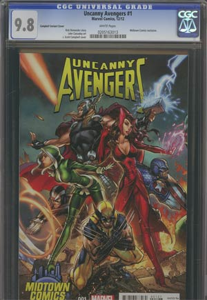 Uncanny Avengers #1 Midtown Exclusive J Scott Campbell Connecting Variant Cover (Part 1 of 3) CGC 9.8