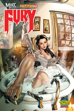 Miss Fury Vol 2 #1 Midtown Exclusive Jack Herbert Bathtub & Bubbles Variant Cover