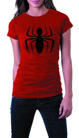 Spider-Man Logo Red Womens T-Shirt Large