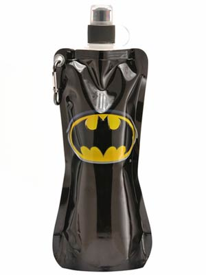 Batman 20-Ounce Black Emblem Collapsible Water Bottle