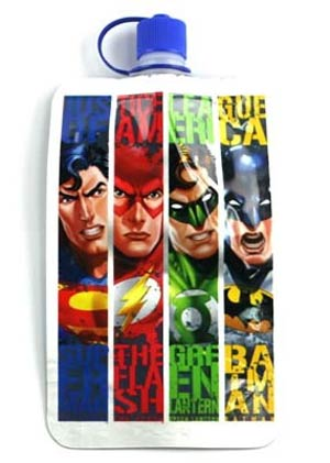 Justice League 7.5-Ounce Strip Collapsible Water Bottle