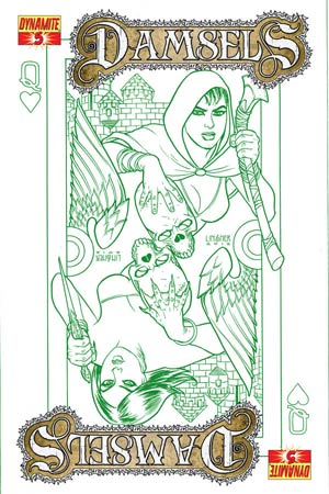 Damsels #5 High-End Joseph Michael Linsner Earth Green Ultra-Limited Variant Cover (only 25 copies printed!)