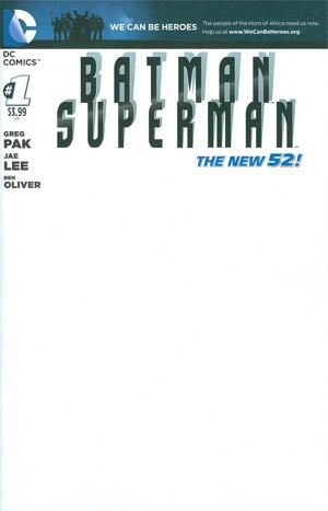 Batman Superman #1 Cover D Variant We Can Be Heroes Blank Cover