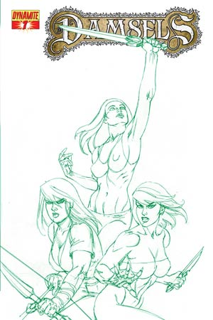 Damsels #7 High-End Joseph Michael Linsner Earth Green Ultra-Limited Cover (ONLY 25 COPIES IN EXISTENCE!)