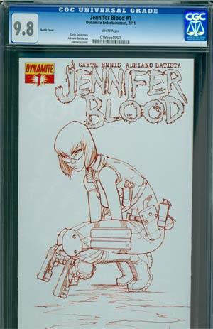Garth Ennis Jennifer Blood #1 Regular Ale Garza Sketch Cover CGC 9.8