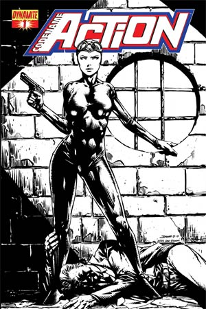 Codename Action #1 Cover K High-End Johnny Desjardins Black & White Ultra-Limited Cover (ONLY 25 COPIES IN EXISTENCE!)