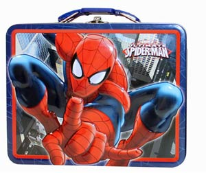 Spider-Man Embossed Large Tin Lunch Box - Red